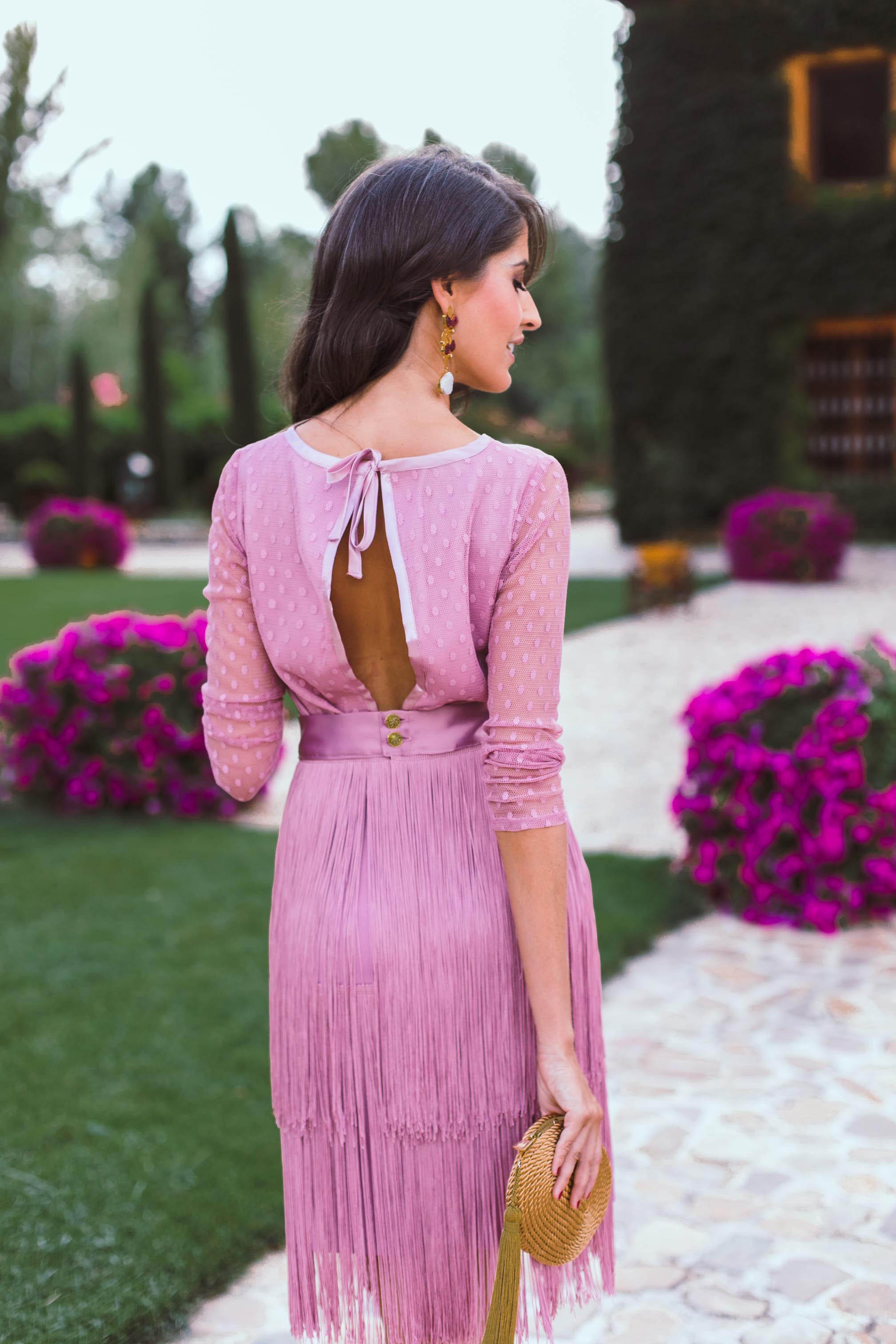 precio loco colores y llamativos ahorrar Falda de flecos en rojo y rosa empolvado largo midi. Look Bailen