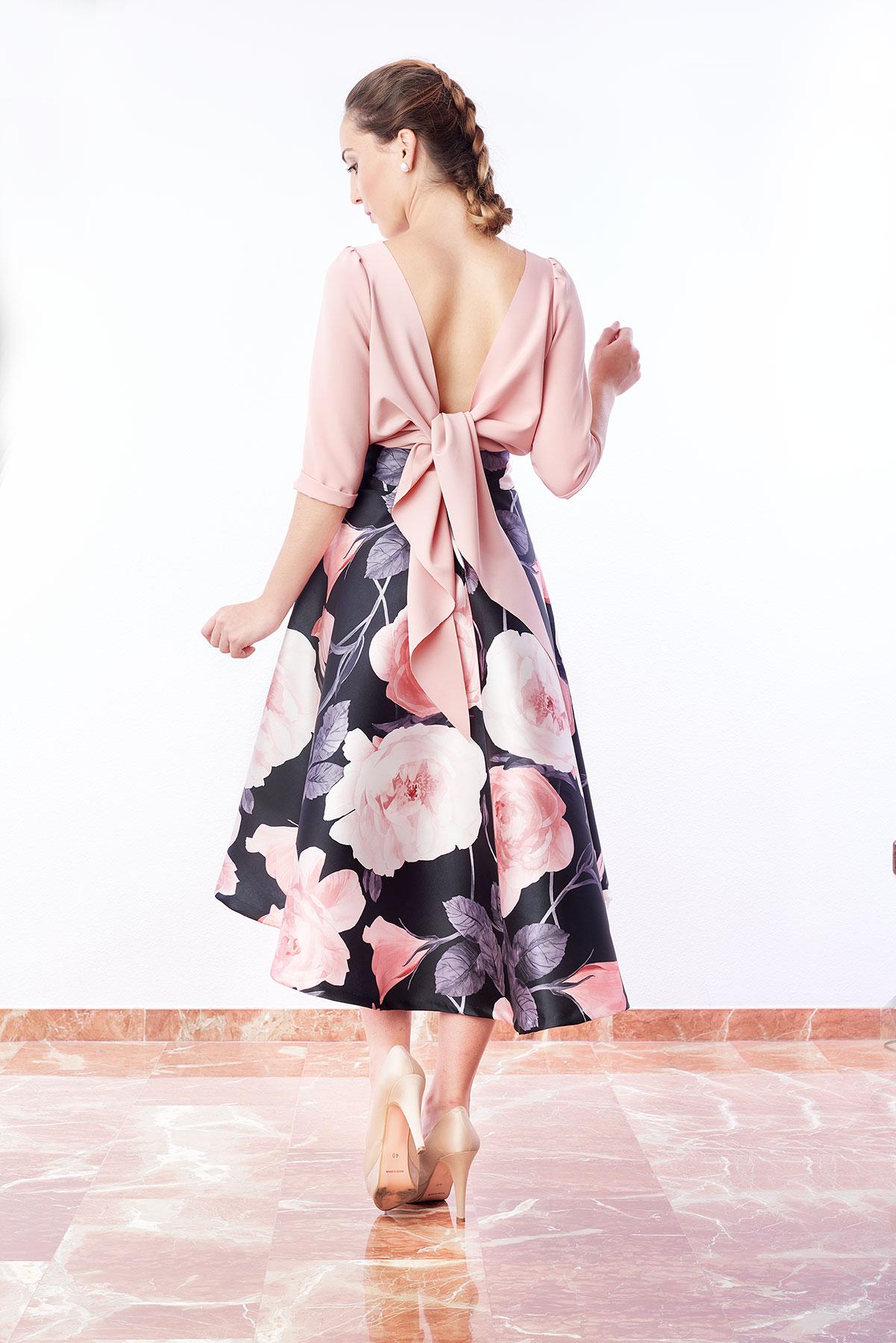 blusa mujer rosa con mangas al codo
