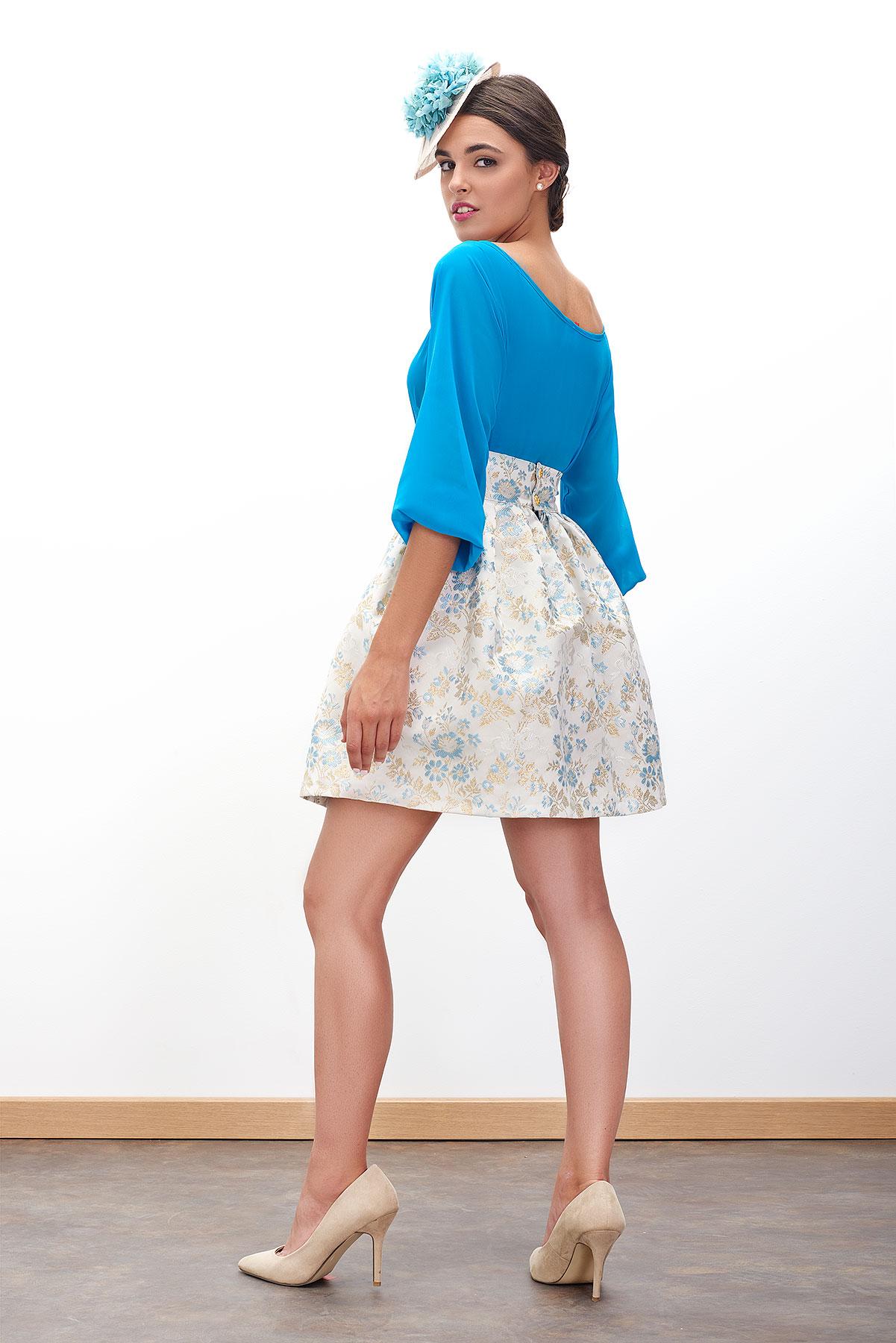 falda corta de fiesta con tonos azules de fatima angulo para fiesta