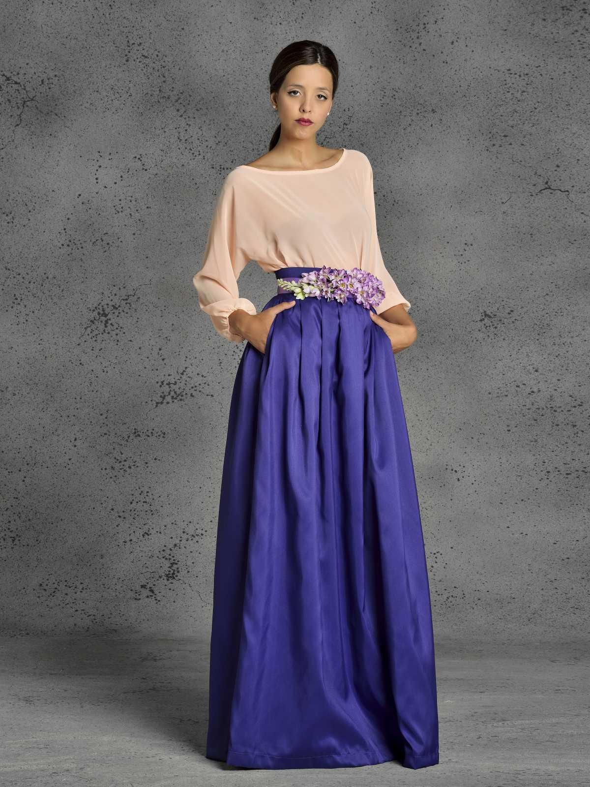 falda larga de fiesta morada de fatima angulo