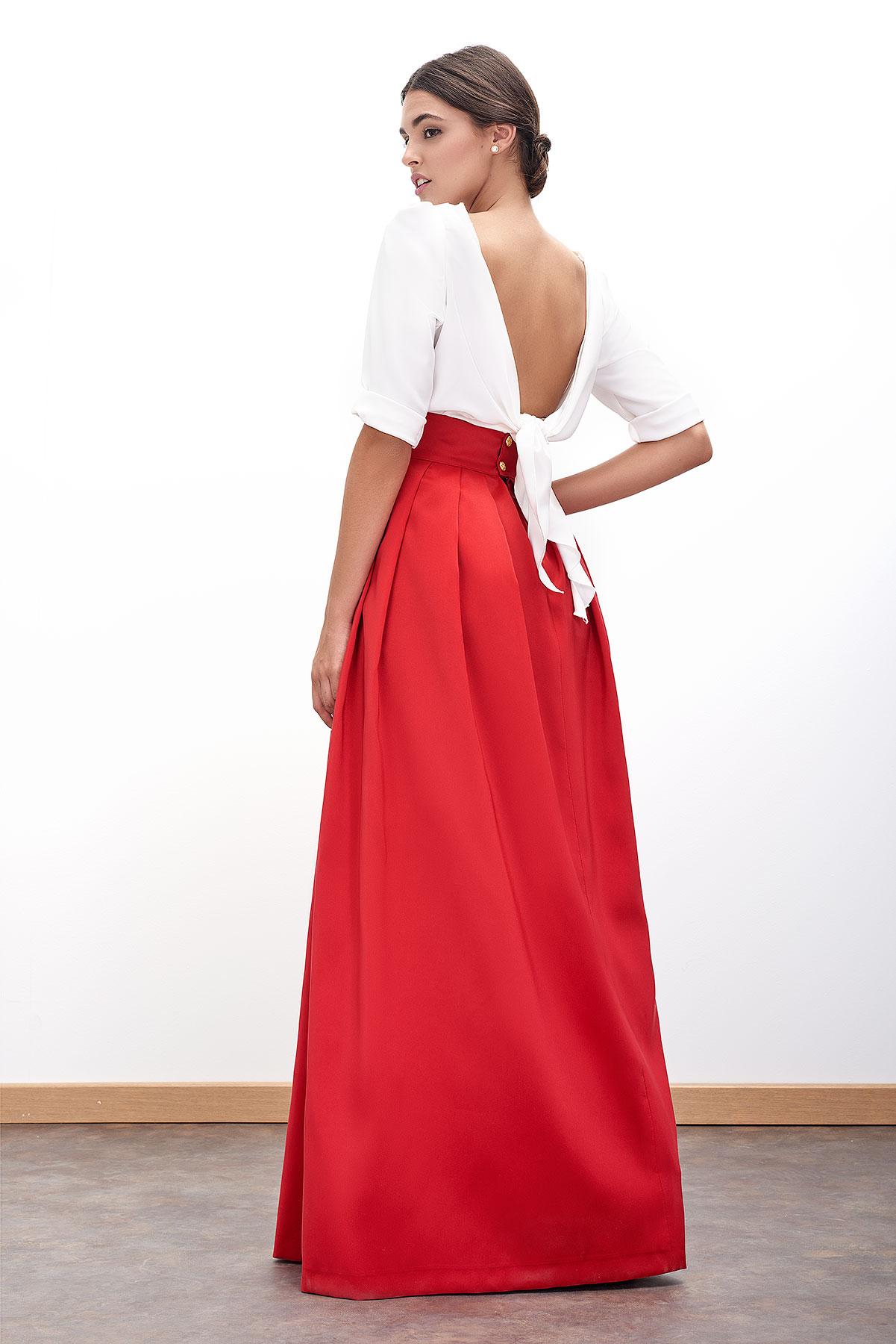 falda de fiesta larga roja de fatima angulo