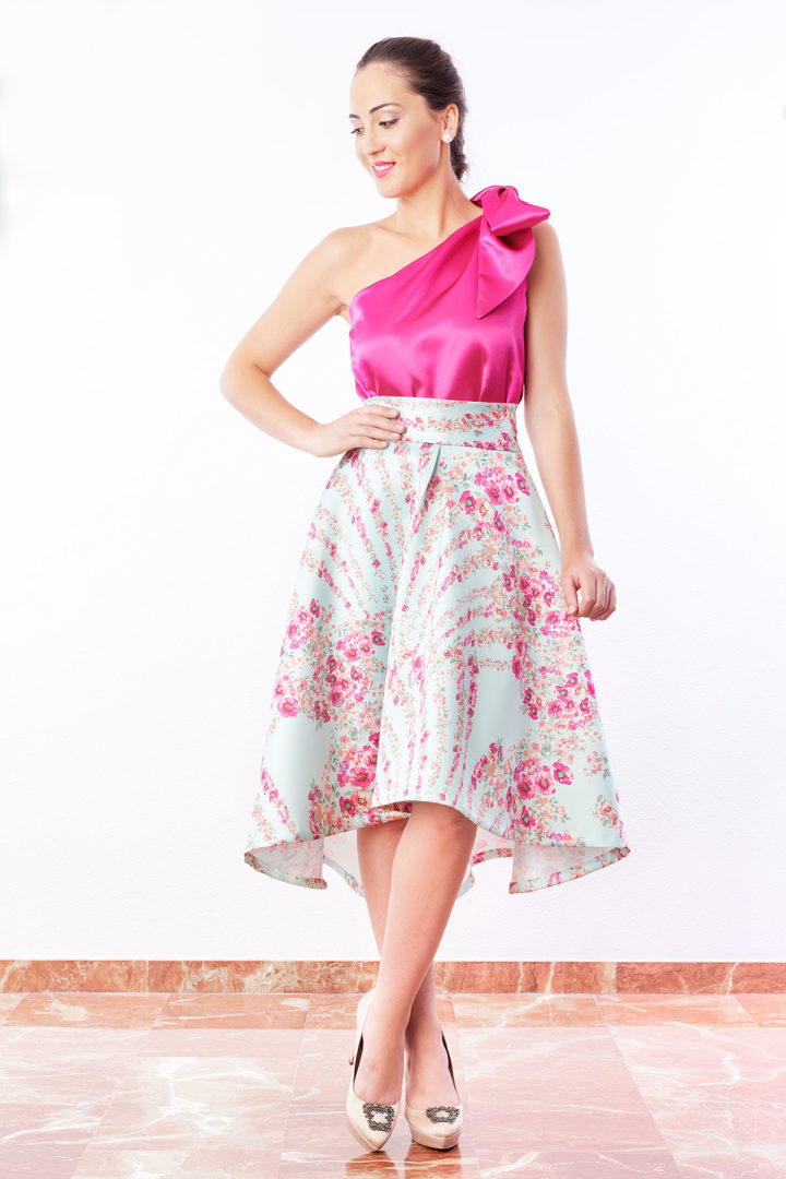 Falda de fiesta de largo desigual color aguamarina
