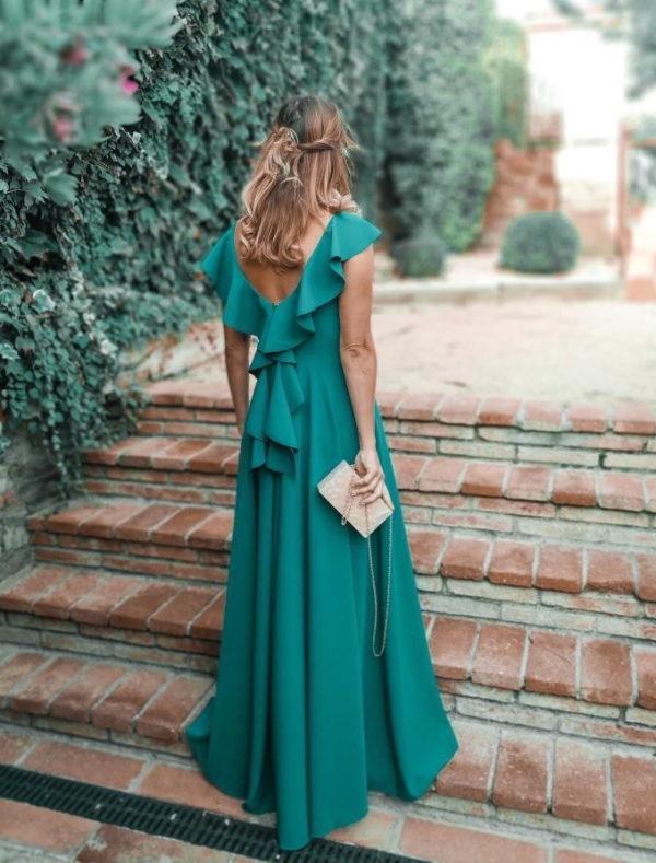 vestido largo fiesta verde orquidea