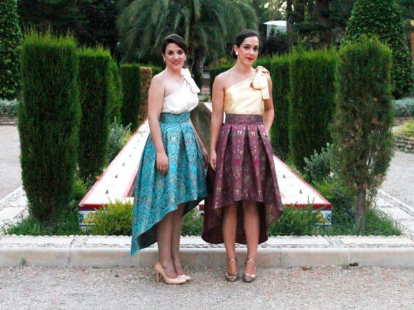 Falda desigual de fiesta de Fátima Angulo