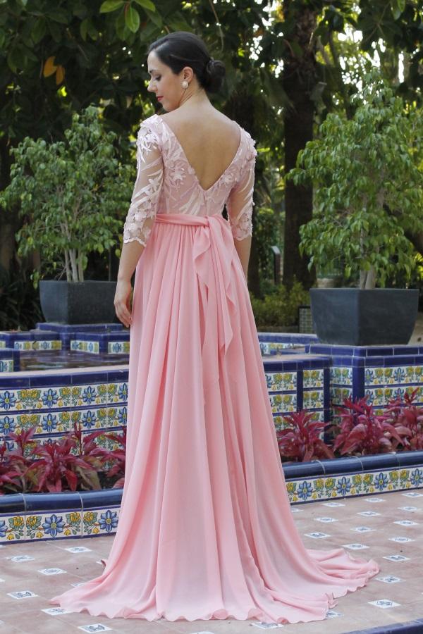 vestido de fiesta rosa largo para ceremonia y bodas
