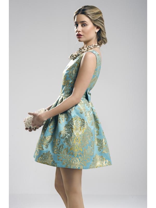 vestido zacatin dorado y turquesa diseñado por Fatima Angulo