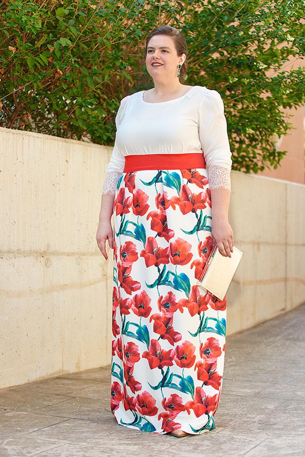 Falda larga de fiesta estampada de flores para eventos de tarde