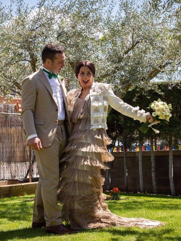 Vestido de novia con flecos de Fatima Angulo