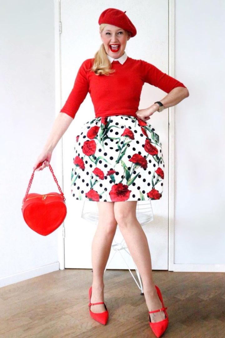falda corta estampada color rojo