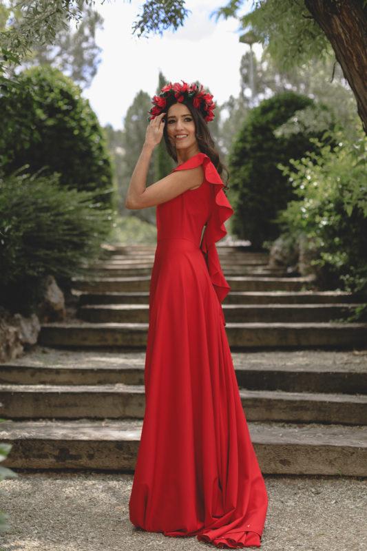 vestido de fiesta largo color rojo sin mangas