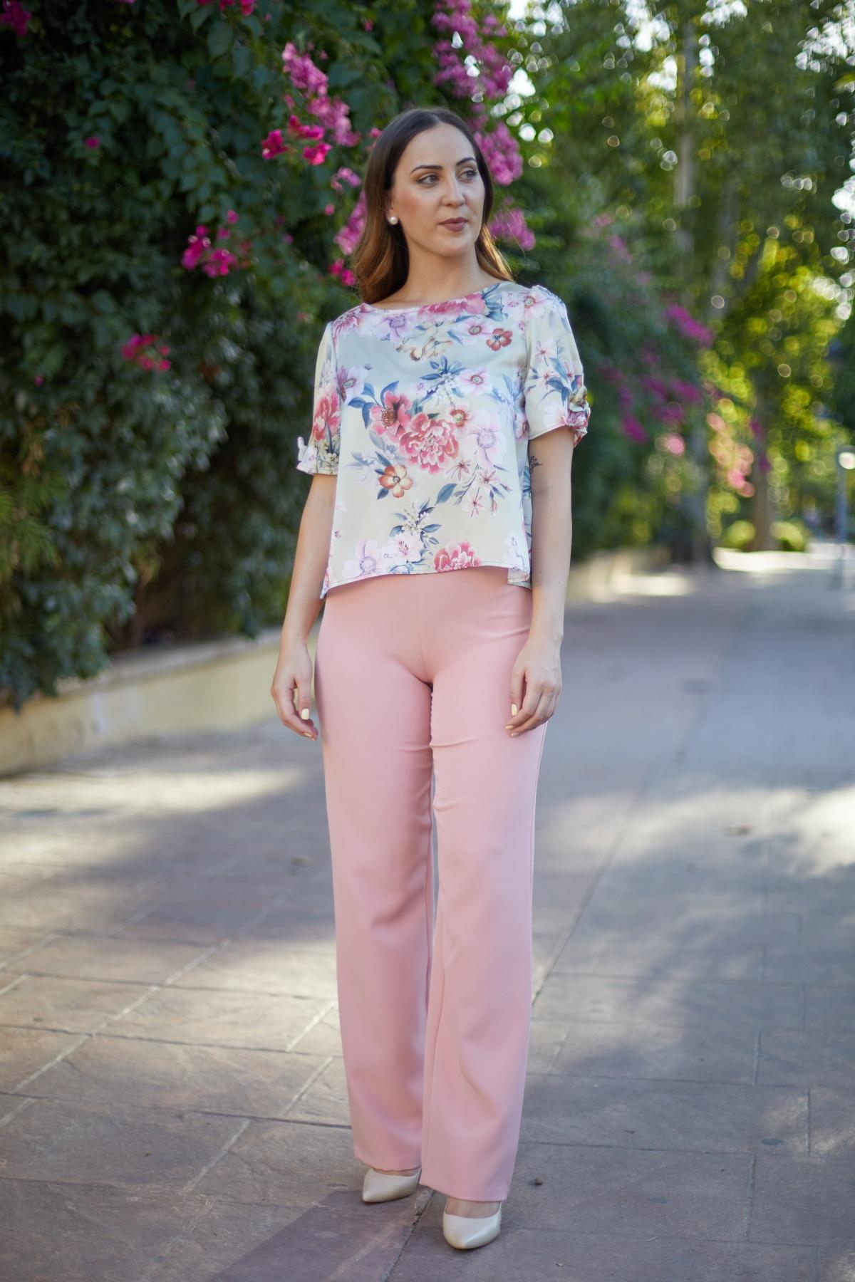 blusa Kioto con pantalon de fiesta mujer para boda o evento color rosa claro