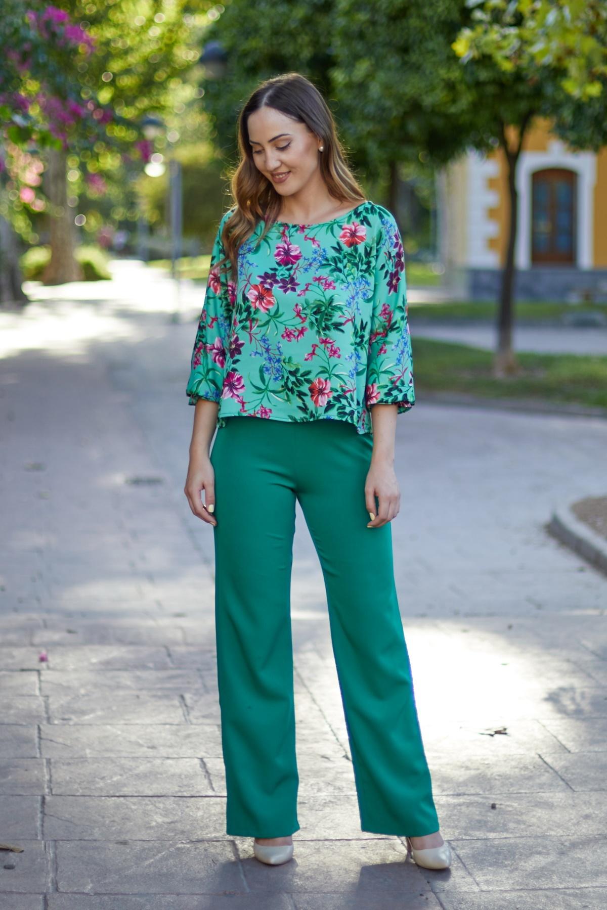 Pantalon de fiesta para boda color verde